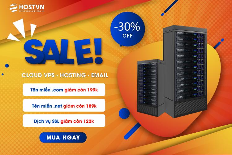 HOSTVN GIẢM 30% dịch vụ SSL, TÊN MIỀN .COM CHỈ CÒN 199K